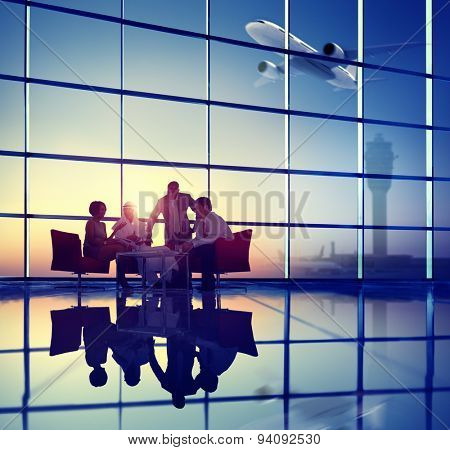 Business Team Discussion Meeting Airplane Take off Concept