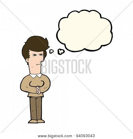 cartoon man narrowing his eyes with thought bubble