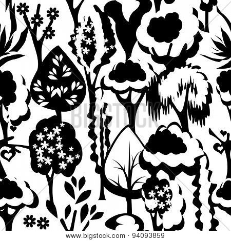 Seamless pattern with stylized black-and white trees