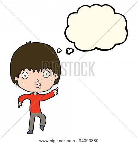 cartoon impressed boy pointing with thought bubble