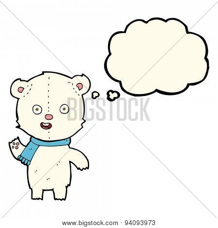 cartoon waving polar bear cub with scarf with thought bubble