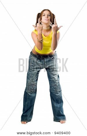 Naughty Girl In Wide Jeans