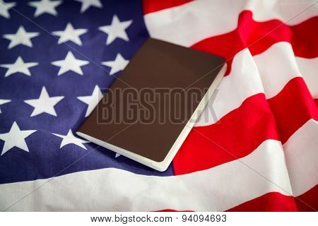Passport on an American flag