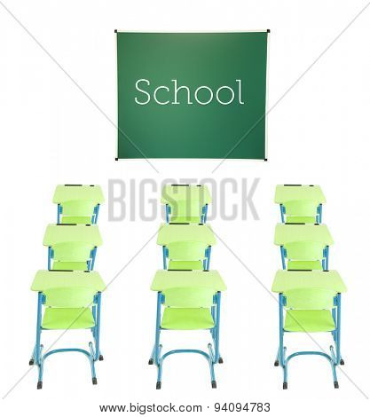 School blackboard, wooden desks and chairs isolated on white