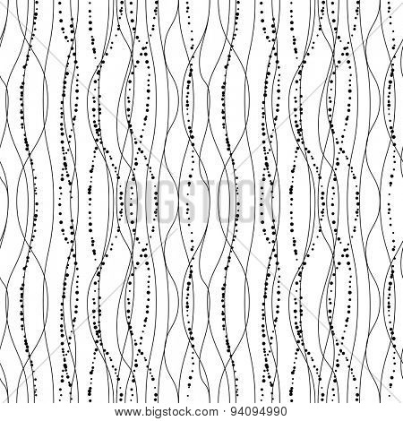 Seamless pattern with stylized black-and white lines