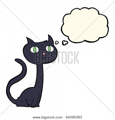 cartoon black cat with thought bubble