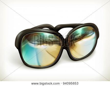 Black sunglasses, vector icon