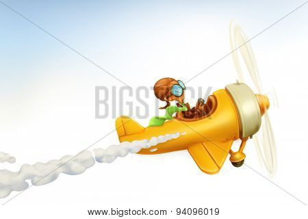 Funny airplane, vector cartoon isolated on white background