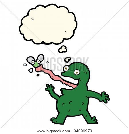 cartoon frog catching fly with thought bubble