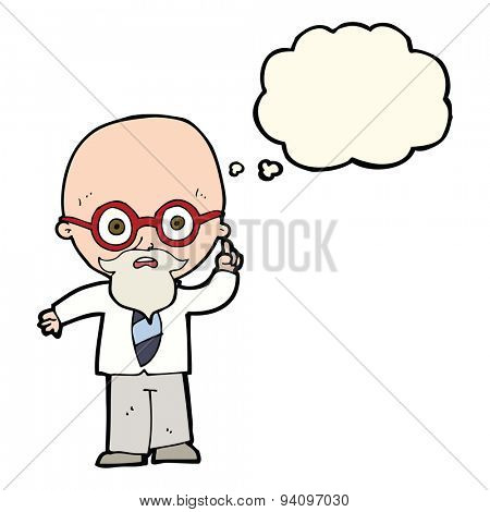 cartoon professor with thought bubble