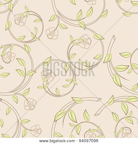 Branches with flowers and green leaves seamless pattern.