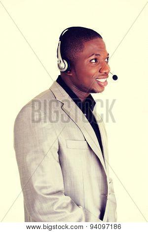 Customer service representative wearing a headset