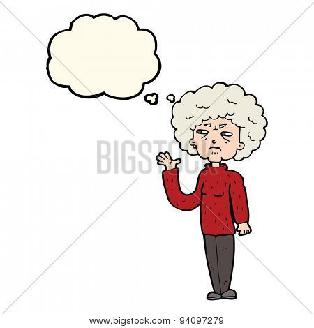 cartoon annoyed old woman waving with thought bubble