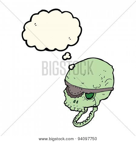 cartoon spooky skull with eye patch with thought bubble