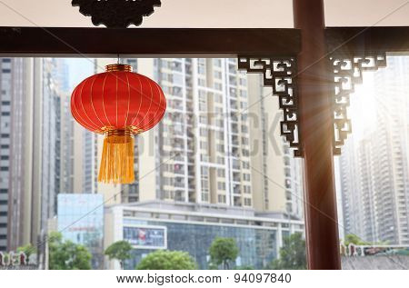 Chinese city red lantern decorations