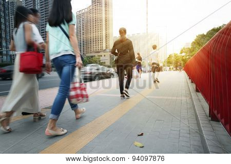 People Commuters City Walking Pedestrian Concept