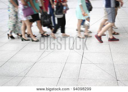 Busy urban street people