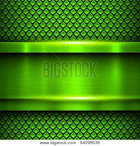 Background metallic green, vector metal texture.