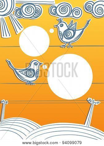 Speaking birds on wires. Raster version