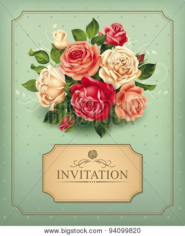 Vintage card with rose bouquet. Vector illustration.