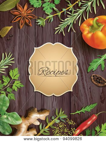 Background with vegetables and spices frame. Vector illustration.