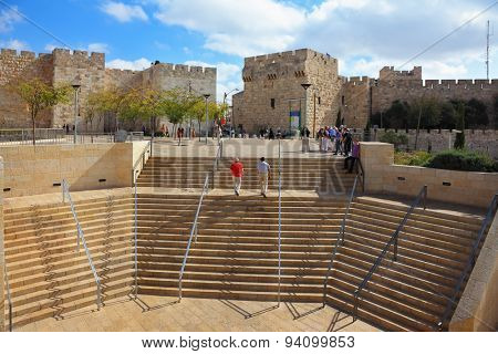 JERUSALEM, ISRAEL - OCTOBER 23, 2010: Amphitheater stone steps leading to the Jaffa Gate in Jerusalem