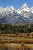 Teton Mountain Range With Man Hiking poster