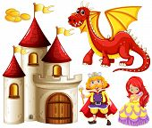 picture of woman dragon  - Set of fairytales with dragon and castle - JPG