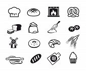 stock photo of sweet sixteen  - Sixteen black cooking and kitchen icons set - JPG