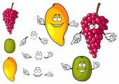 picture of tropical food  - Happy bright fruit cartoon characters with mango - JPG