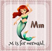 stock photo of mermaid  - Flashcard letter M is for mermaid - JPG