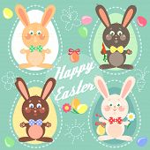 pic of easter eggs bunny  - Happy Easter card with easter bunnies - JPG