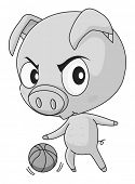 pic of pig head  - Pig with big head playing basketball - JPG