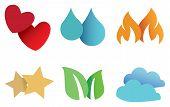 image of embellish  - Set of six conceptual symbols as design elements for decoration and embellishments isolated on white background - JPG
