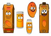 pic of tropical food  - Funny sweet mango fruit and juice cartoon characters with tropical orange mango fruit - JPG