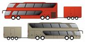 stock photo of motor-bus  - Double decker tourist bus design with attached trailer side view - JPG