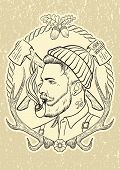 stock photo of tobacco-pipe  - Hand drawn portrait of bearded and tattooed lumberjack with tobacco pipe - JPG