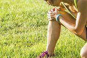 stock photo of ankle shoes  - Running sport injury  - JPG