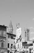 picture of piazza  - Statue of Triton in Piazza della Signoria in Florence Tuscany Italy - JPG