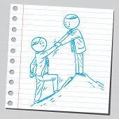 image of helping others  - Businessman help other businessman to climb on top of the hill - JPG