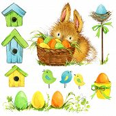 foto of easter eggs bunny  - Easter bunny and Easter egg with garden decor - JPG