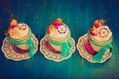 picture of whipping  - Vintage photo of dessert with jelly whipped cream and strawberries - JPG