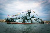 stock photo of parade  - rocket Russian cruiser air cushion in the Bay of Sevastopol on parade in honor of victory day