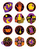 foto of fortune-teller  - Symbols showing different methods of clairvoyant psychic fortune telling - JPG