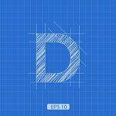 foto of letter d  - D letter architectural plan on blue print background - JPG