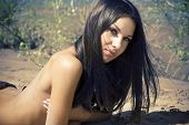 stock photo of topless  - Smiling beautiful young brunette woman sunbathing topless on a beach - JPG