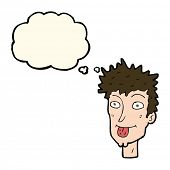 picture of sticking out tongue  - cartoon man sticking out tongue with thought bubble - JPG
