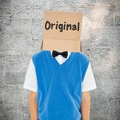 image of anonymous  - Anonymous businessman against grey - JPG