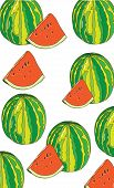 picture of watermelon slices  - Colorful abstract background with whole watermelons and slices on a white background - JPG
