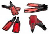 foto of fin  - Set of red swim fins for diving isolated on white background - JPG